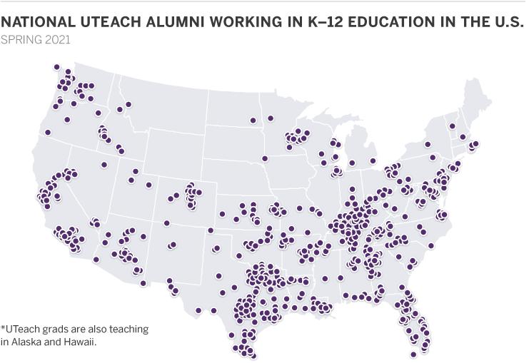 UTeach Alumni Teaching Map 2021