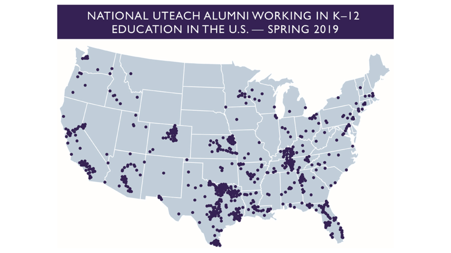 Map of UTeach Alumni working in K-12 education in the United Stated - Spring 2019
